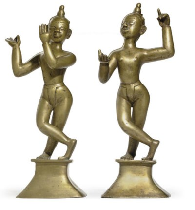 Two brass figures of Krishna a