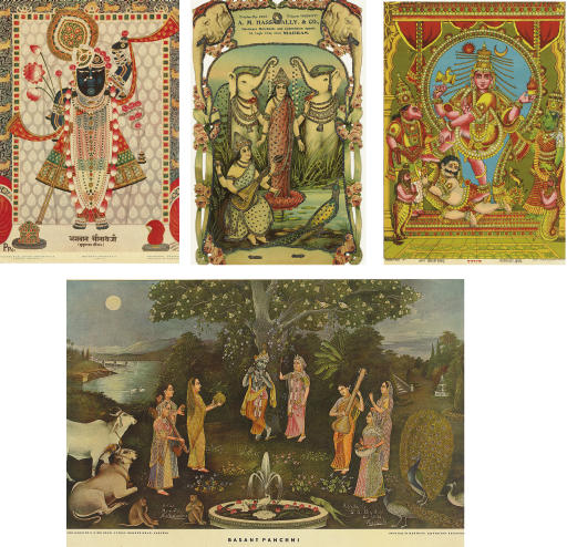 Four posters depicting Hindu d