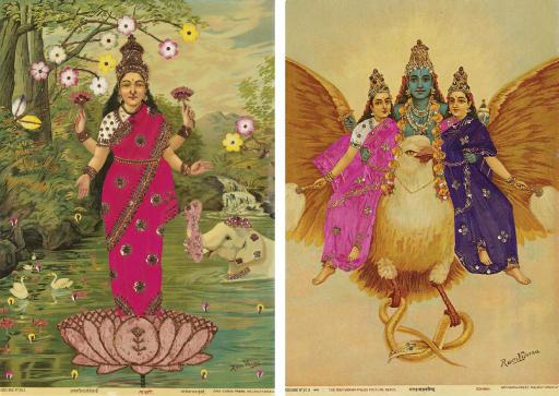 Lakshmi and Garuda bearing Vishnu and his wives