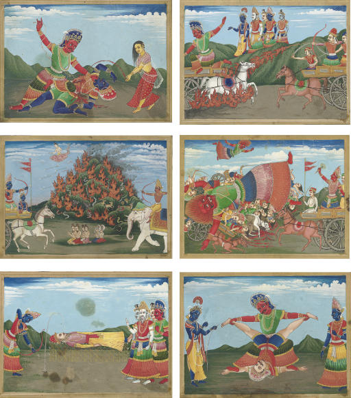 Six illustrations to the Mahab