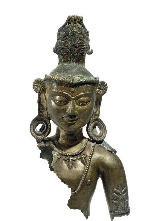 A bronze bust of a Bodhisattva