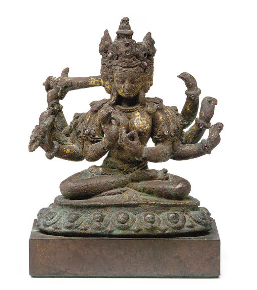 A copper figure of a Devi