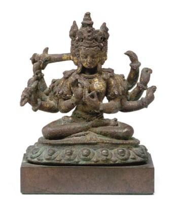 A copper figure of a Devi