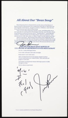James Brown Signed Menu