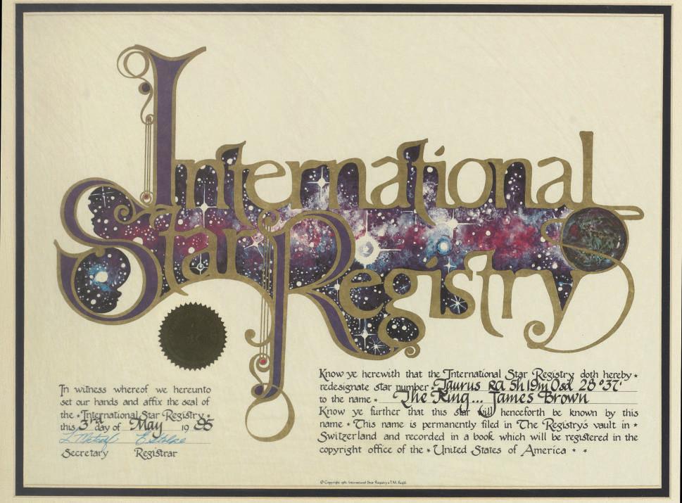 Star Reigstry Certificate