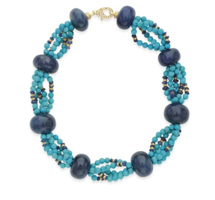A TURQUOISE AND SAPPHIRE BEAD