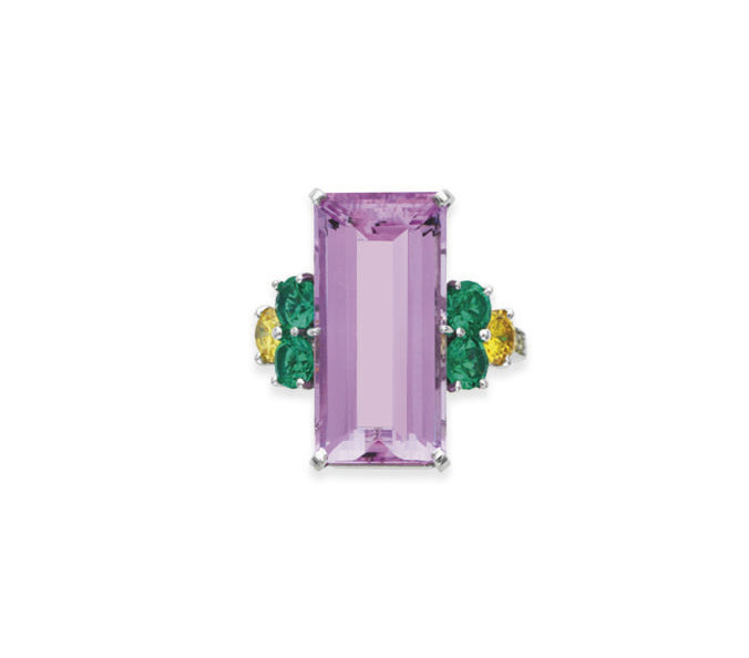 A PINK TOPAZ, EMERALD AND COLO