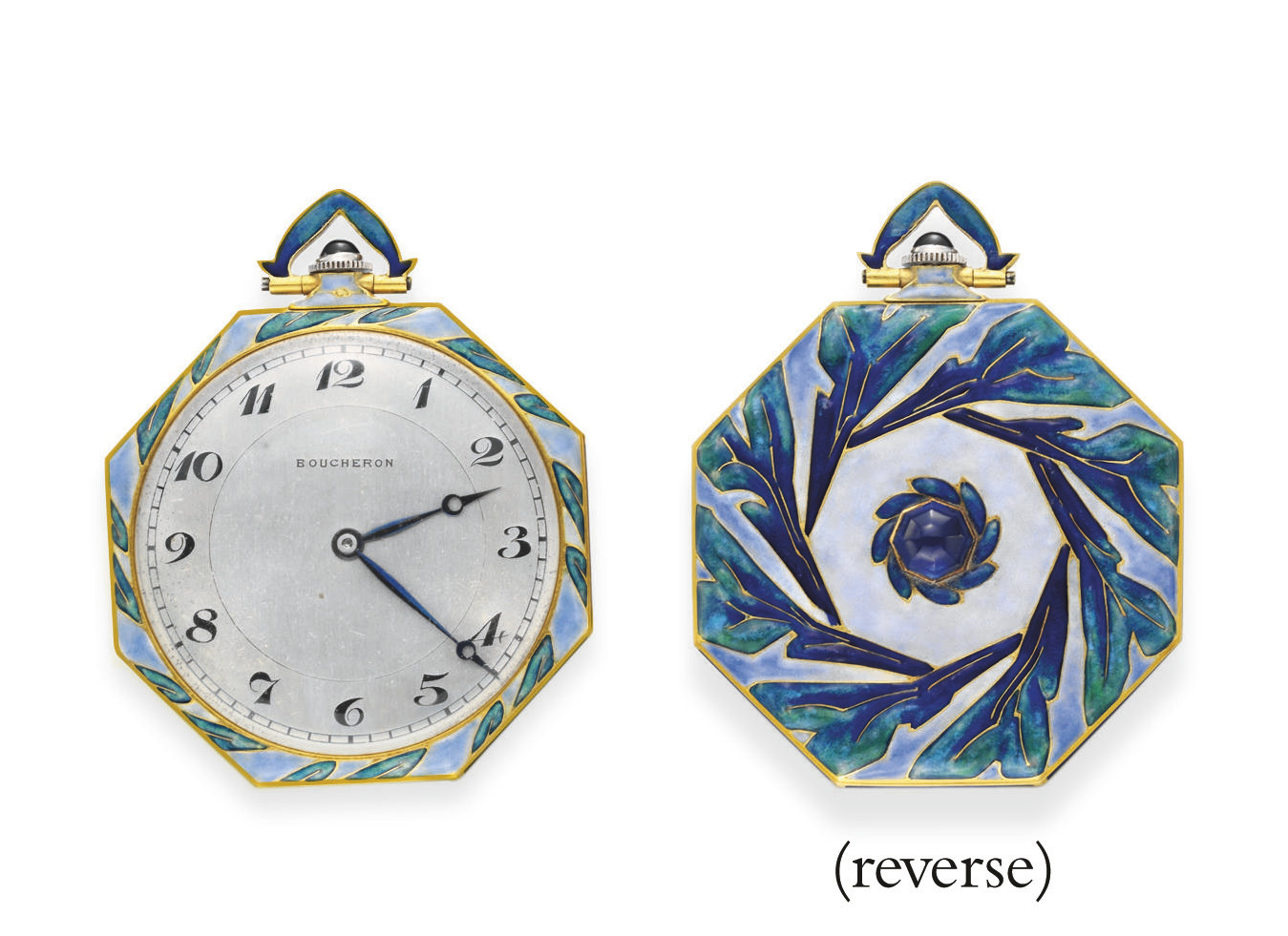 AN ART DECO ENAMEL AND GOLD PO