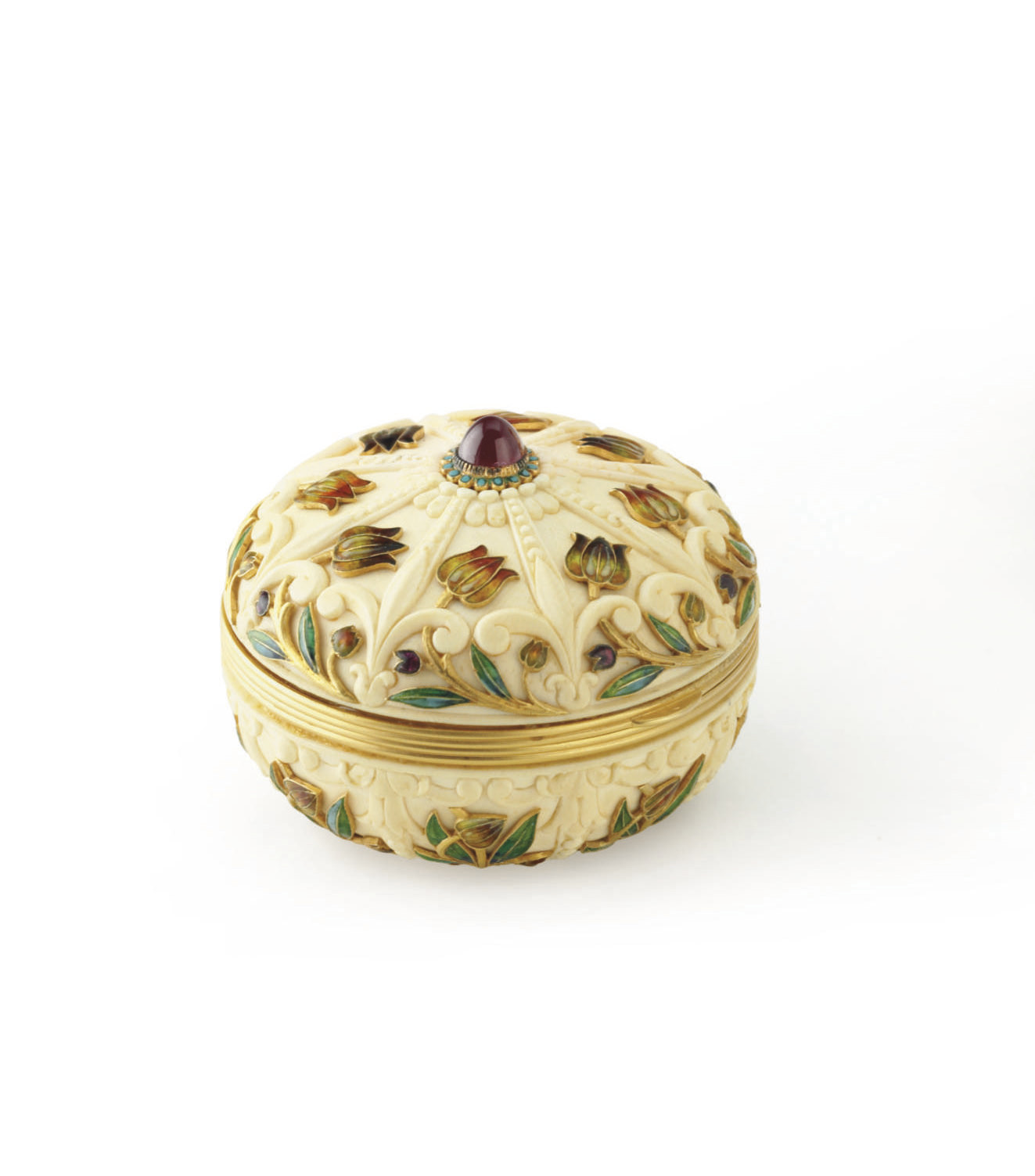 **AN ANTIQUE IVORY, ENAMEL AND