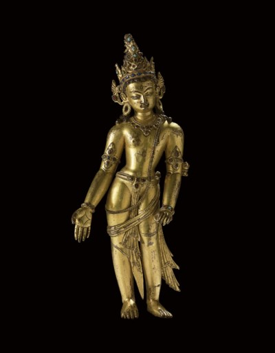 A gilt copper figure of Bodhis