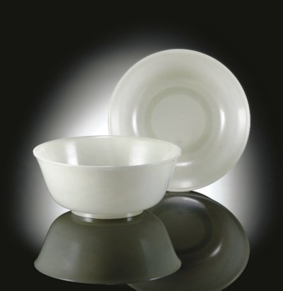 A PAIR OF FINE WHITE JADE BOWL