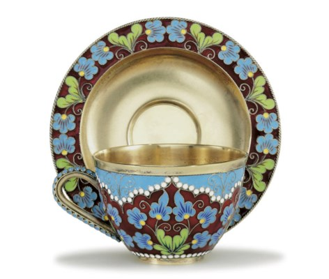 A Silver and Cloisonné Cup and