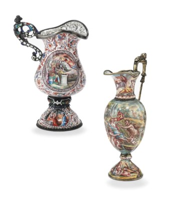 TWO VIENNESE SILVER AND ENAMEL
