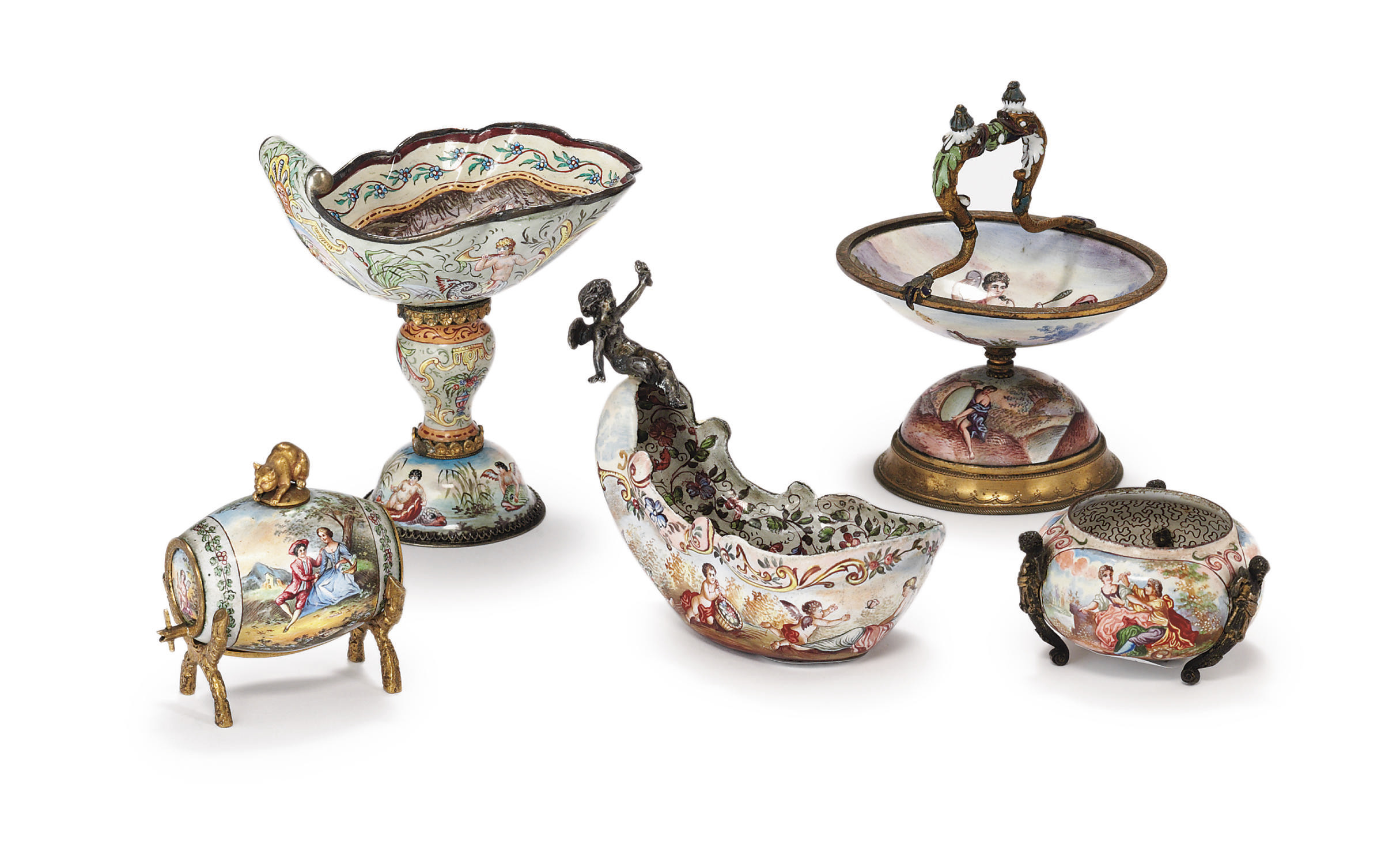 A GROUP OF FIVE VIENNESE SILVE