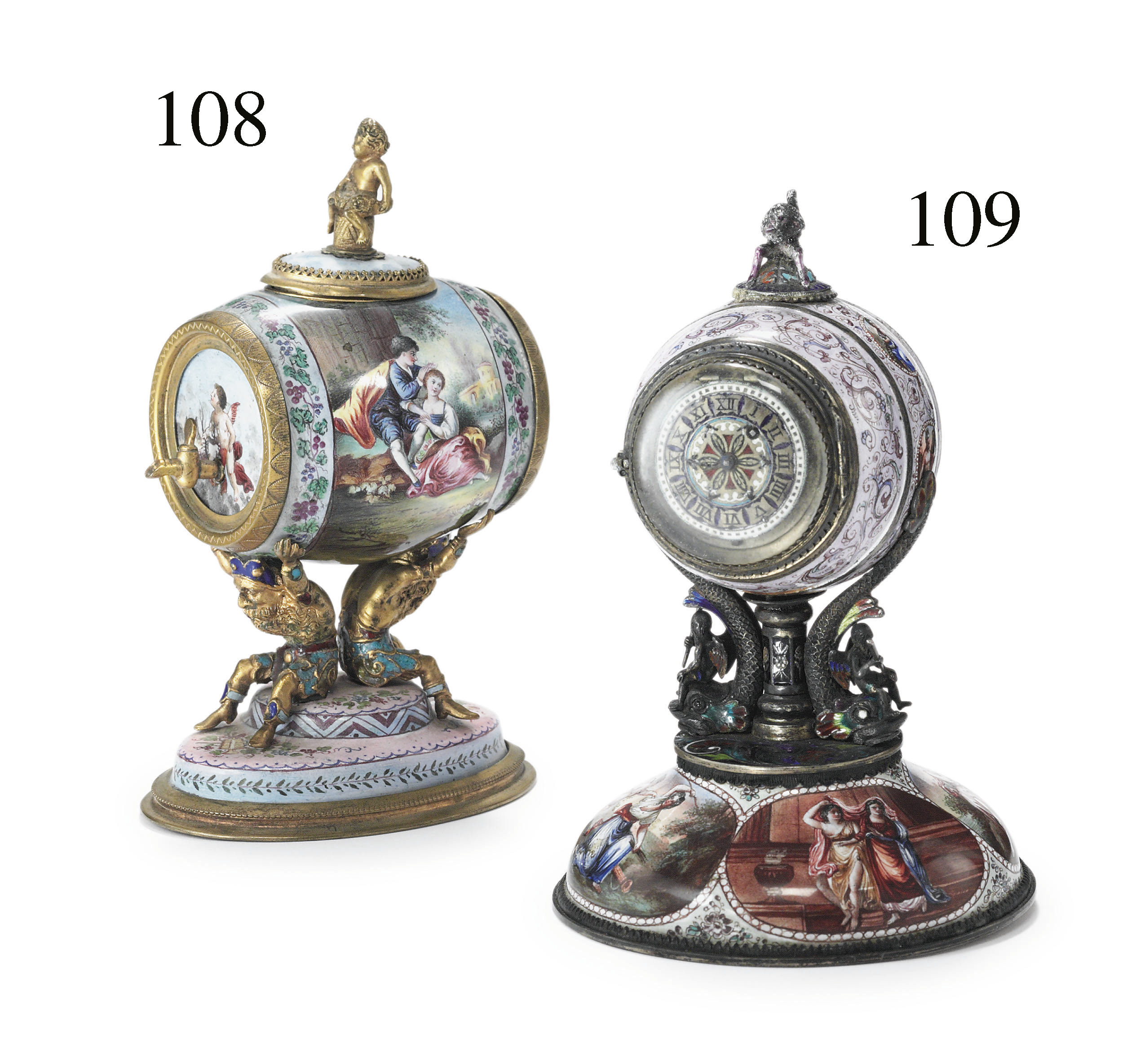 A VIENNESE SILVER AND ENAMEL B