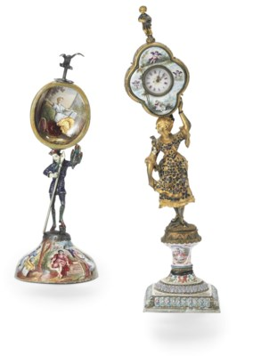 TWO VIENNESE ENAMEL TABLE CLOC