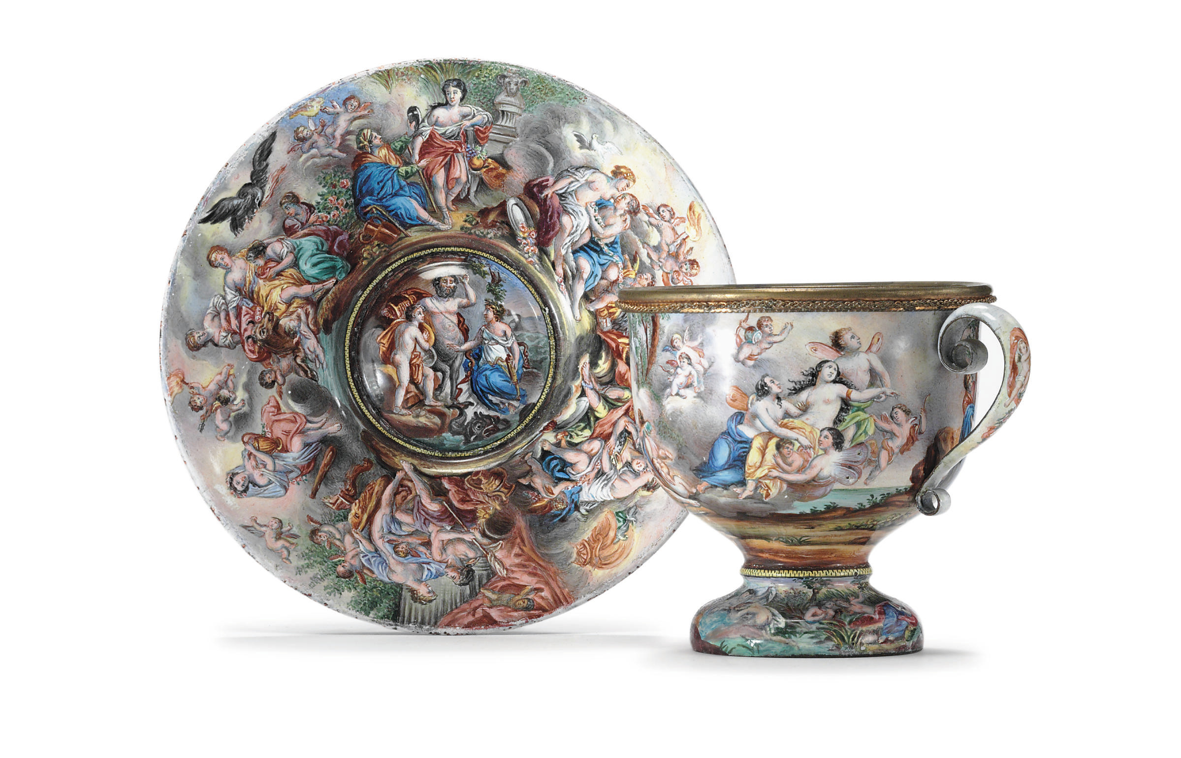 A VIENNESE ENAMEL CUP AND SAUC