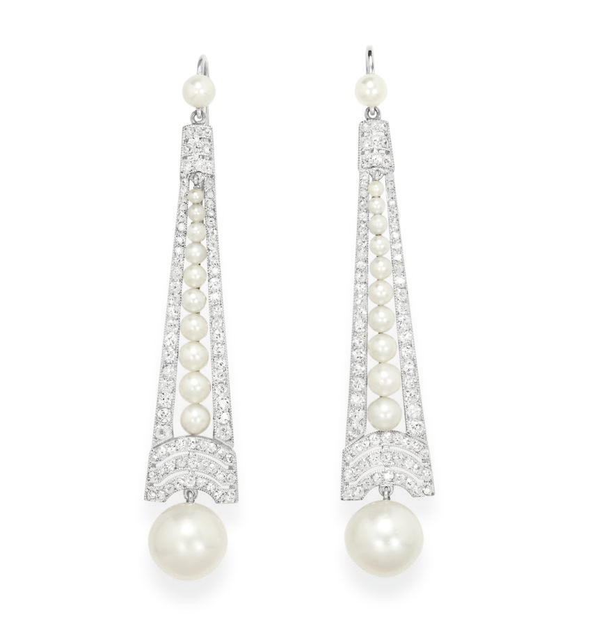 A PAIR OF PEARL AND DIAMOND EA