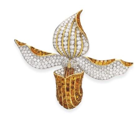 A SUPERB DIAMOND AND CITRINE O