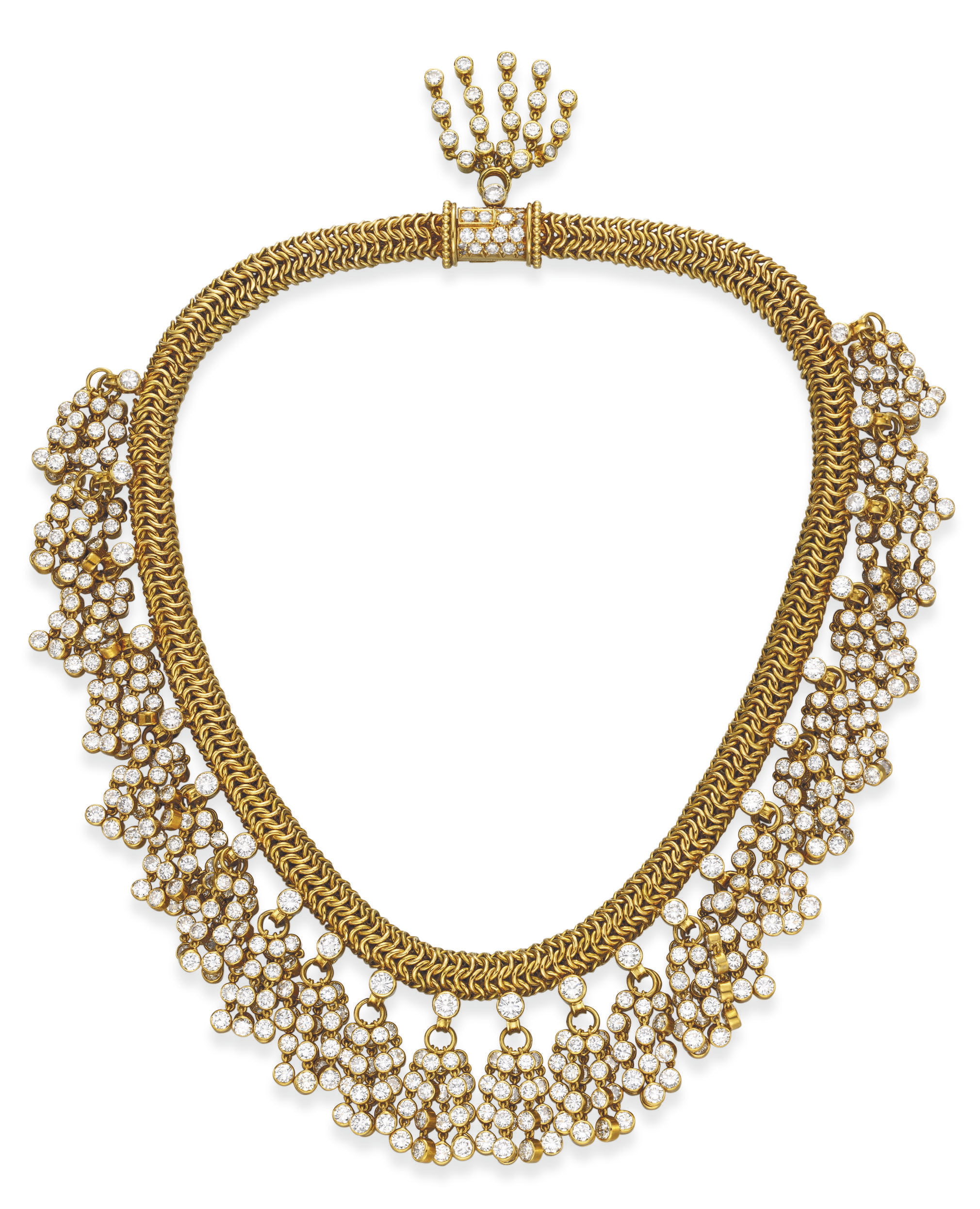 "A RETRO DIAMOND AND GOLD ""PASSEMENTERIE"" NECKLACE, BY RENE BOIVIN"
