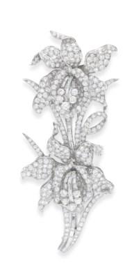 A DIAMOND ORCHID DOUBLE-CLIP B