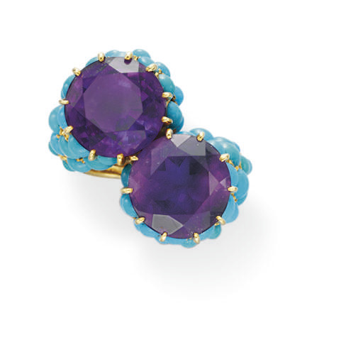 AN AMETHYST AND TURQUOISE RING