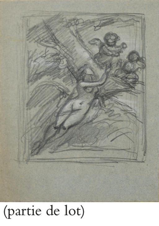 Femme nue entourée de putti ailés