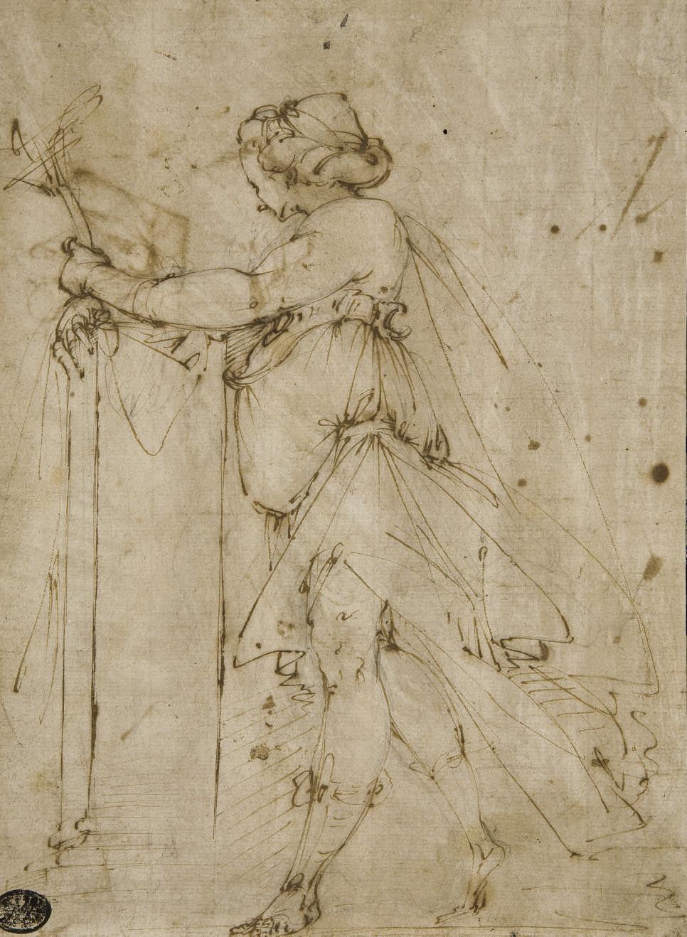 Femme drapée, vue de profil vers la gauche (recto); Etude subsidiaire d'un bras drapé (verso)