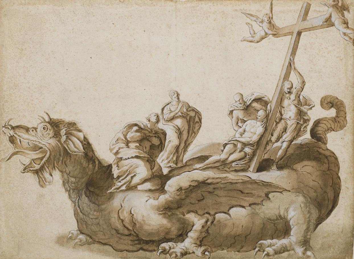 Scène de crucifixion sur un dragon