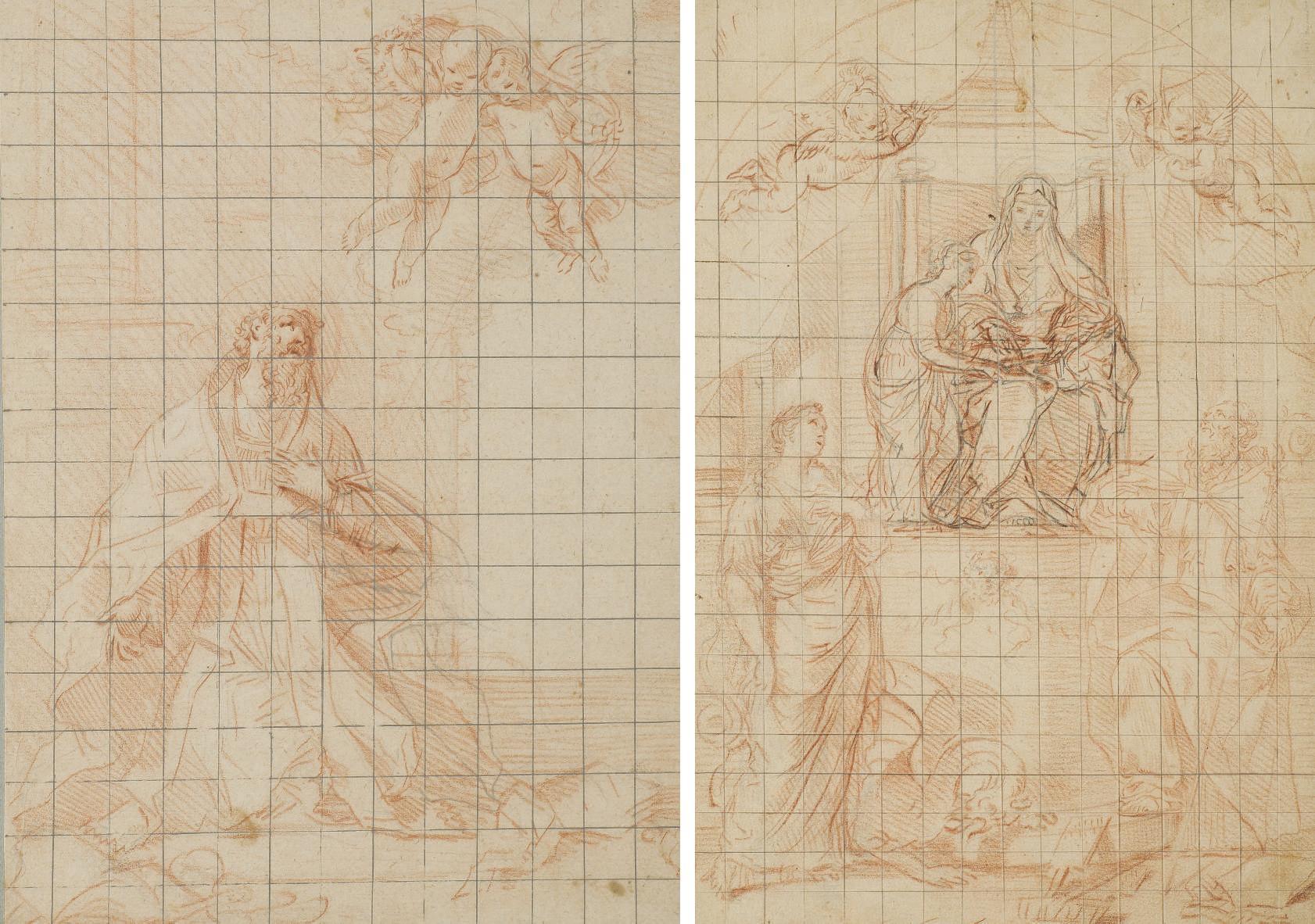 Saint Eloi en habit épiscopal; et L'Education de la Vierge avec saint Blaise et sainte Marguerite