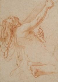 Femme nue agenouillée, le corps en arrière, le bras droit levé