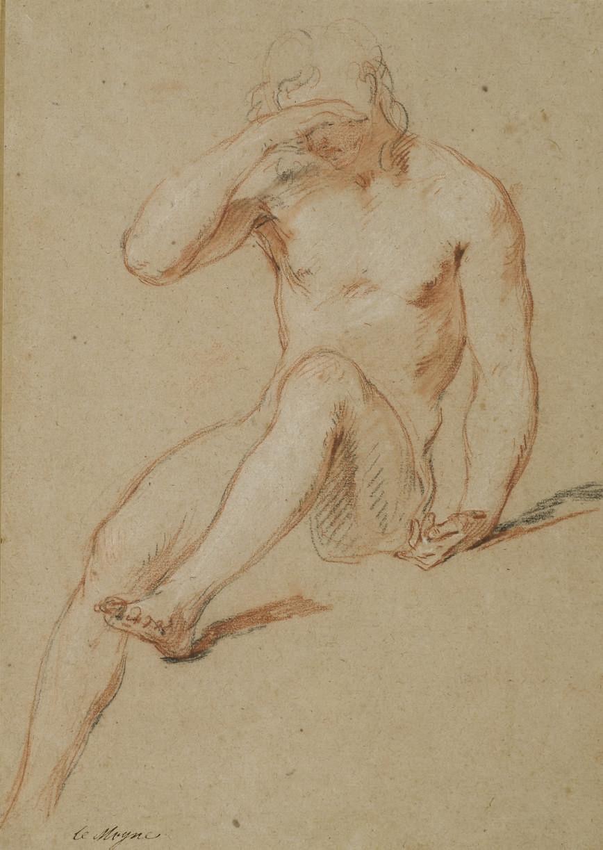Homme nu assis, la main droite posée sur les yeux