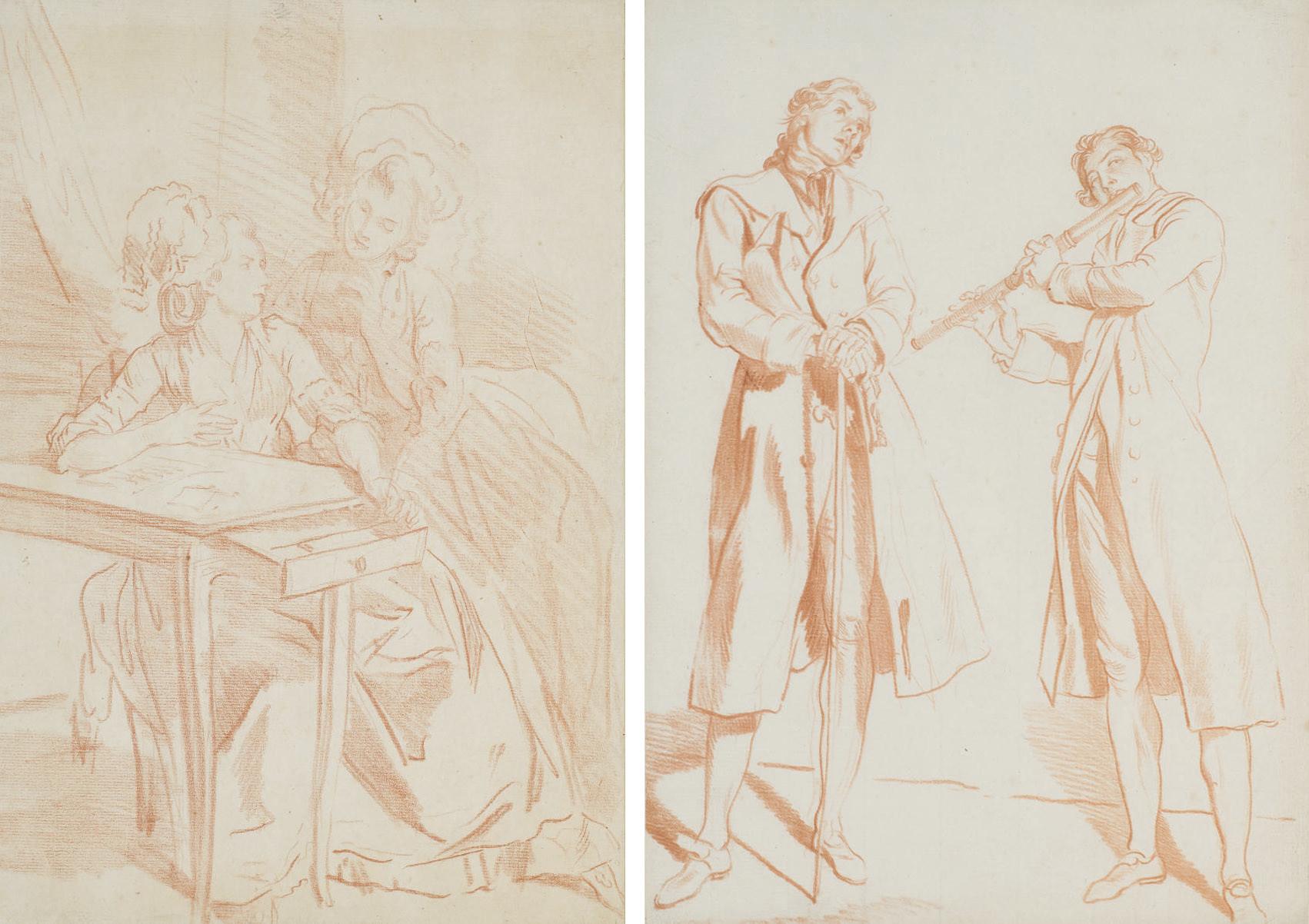 Jeune femme au chapeau; Jeune femme assise; Deux femmes assises près d'une table; et Deux hommes dont l'un jouant de la flûte traversière