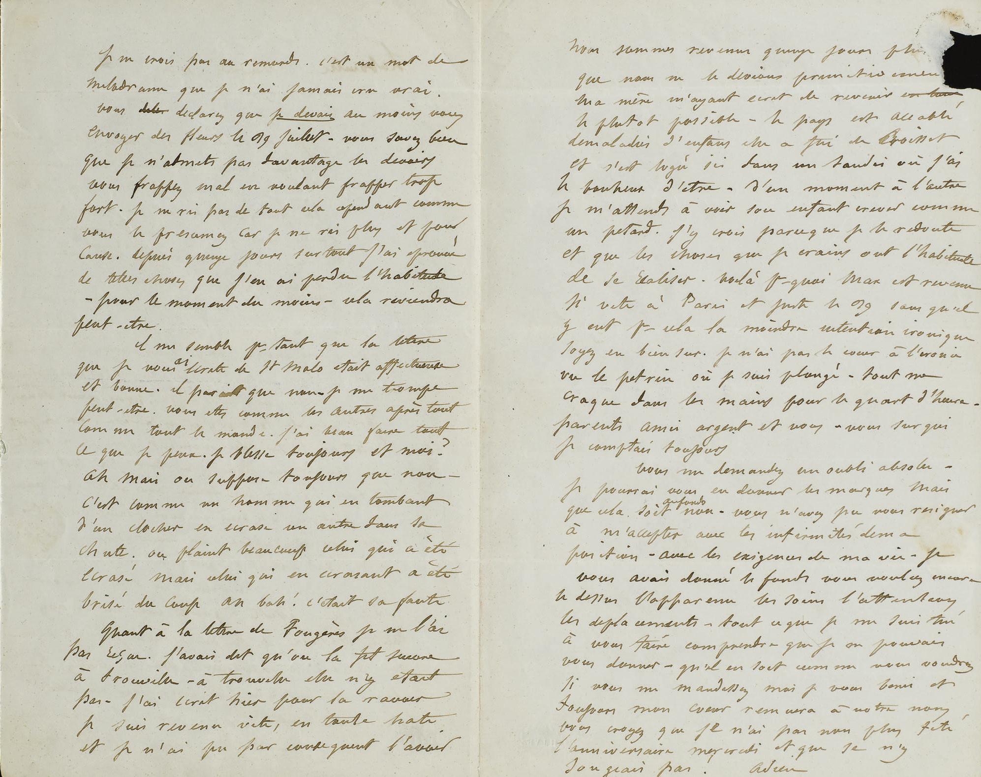 FLAUBERT, Gustave (1821-1880). Lettre autographe à Louise Colet. La Bouille, s.d. [6 août 1847].