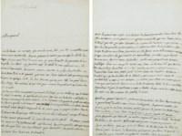 """LA PÉROUSE, Jean-François de Galaup, comte de (1741-1788?). Lettre autographe (minute) adressée au général de Rochambeau. Avec la mention manuscrite """"à la Conne la Pérouse"""" en haut à gauche. S.d. [mars 1781]."""