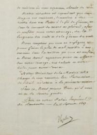 """NAPOLÉON Ier (1769-1821). Ordre de mission adressé au capitaine Baudin, signé """"Napoléon"""" et daté de """"Rambouillet le 15 septembre 1807""""."""
