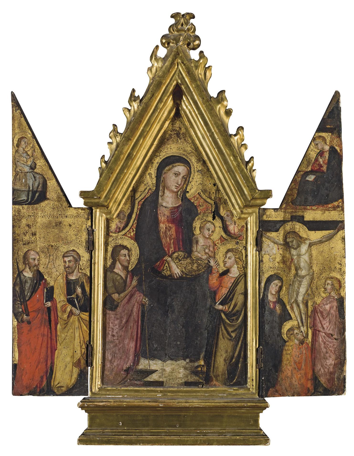 Triptyque : Vierge à l'Enfant avec saint Jean-Baptiste et saint Jean (panneau central) ; La Crucifixion (volet de droite) ; Saint Pierre et saint Paul (volet de gauche)