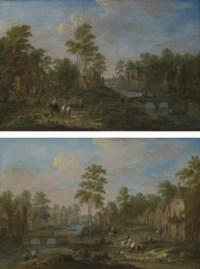 Village fluvial animé de promeneurs, de cavaliers et de pêcheurs sur des barques ; et Village fluvial avec des cavaliers, des promeneurs et des pêcheurs tirant leurs filets