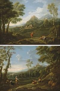 Trois personnages dans un paysage classique montagneux dominé par un village fortifié sur une colline ; et Paysage classique montagneux avec des paysans au repos