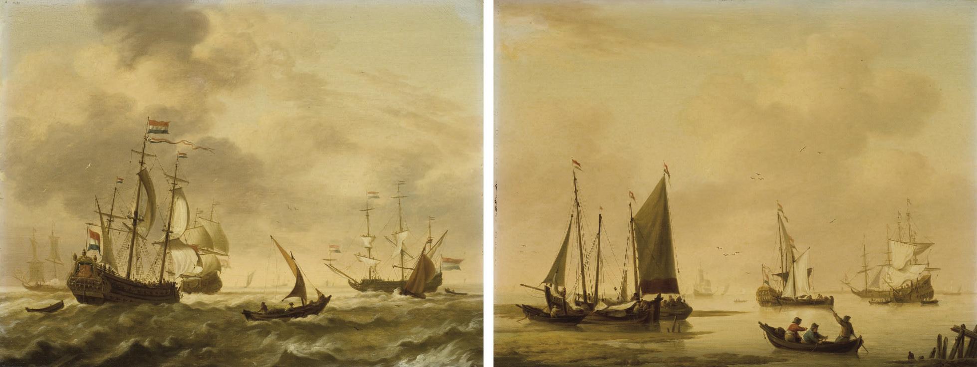 Navires et bateaux de pêche sur une mer agitée ; et Le retour de la pêche