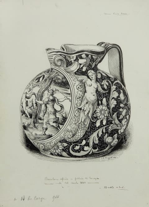 Douze études d'objets d'art conservés au Musée Correr de Venise: quatre études de majoliques du 16e siècle, dont une carafe vénitienne, une tasse de Castel Durante, une coupe d'Urbino, un plat de Castelli; Etude d'une coupe à décor d'émaux; et Cinq études de manuscrits enluminés