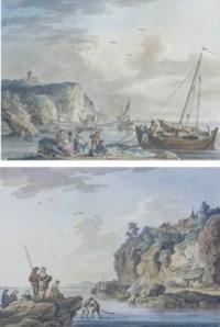 Le retour de la pêche, un bateau amarré; et Pêcheurs remontant leur filet dans une baie