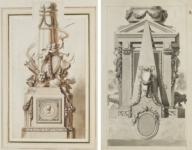 Etude pour un monument funéraire orné d'un lion, d'un ange musicien, de flèches et de couronnes de fleurs; et Etude pour un momument funéraire composé de deux caryatides, d'une urne et de deux brûleurs à encens