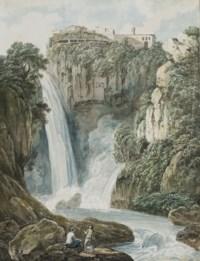 Vue des cascades de Tivoli à Rome, deux personnages au premier plan sur des rochers