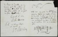 BERLIOZ, Hector (1803-1869). Lettre autographe signée à Zimmermann, avec une citation musicale d'une portée de 3 mesures. S.l.n.d. [octobre 1839]. 3 pages in-12 sur un feuillet plié (208 x 132 mm), avec suscription. (Traces de cachet.) Provenance: ancienne collection Minka Strauss -- Par descendance au propriétaire actuel.