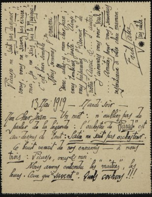 SATIE, Érik (1866-1925). Carte