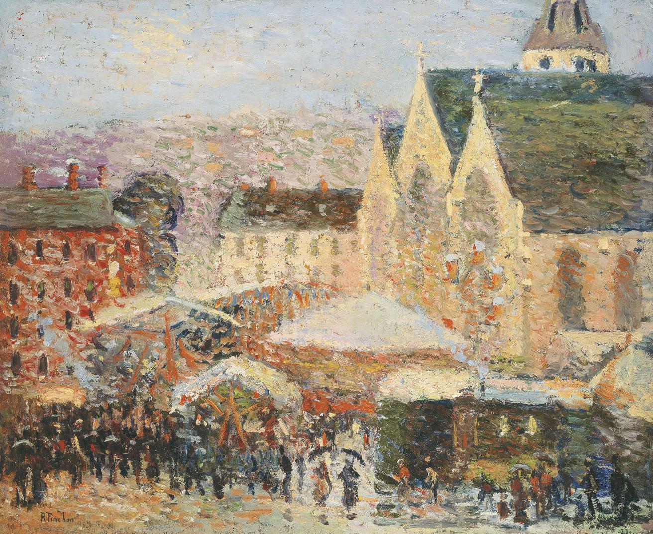 La foire Saint-Romain sur la place Saint-Vivien, Rouen