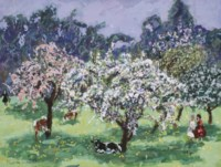 """Vaches dans le verger de """"La Grande-Cour"""", Honfleur"""