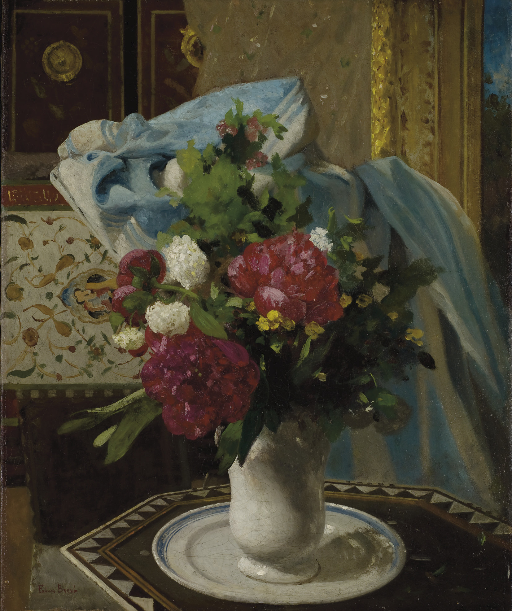 Bouquet de tulipes et pivoines dans un intérieur ottoman