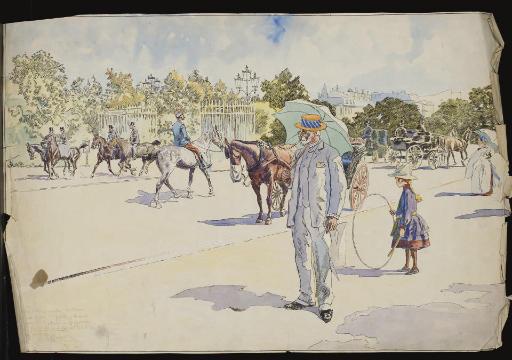 Un homme fumant et une fillette jouant au cerceau dans un parc, des cavaliers à l'arrière-plan